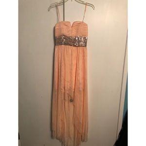 High-Low Peach Prom Dress